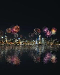 skyline buildings under fireworks display