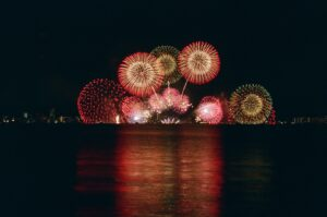 mirror photography of fireworks display